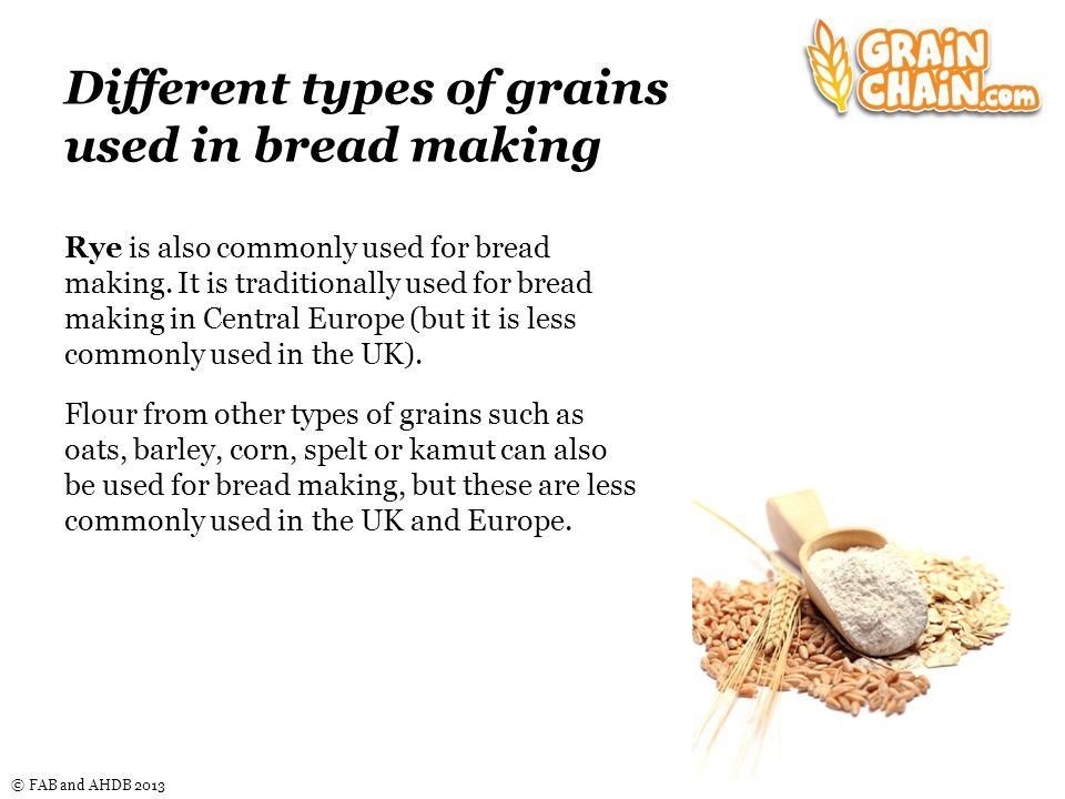 © FAB and AHDB 2013 Different types of grains used in bread making Rye is also commonly used for bread making.