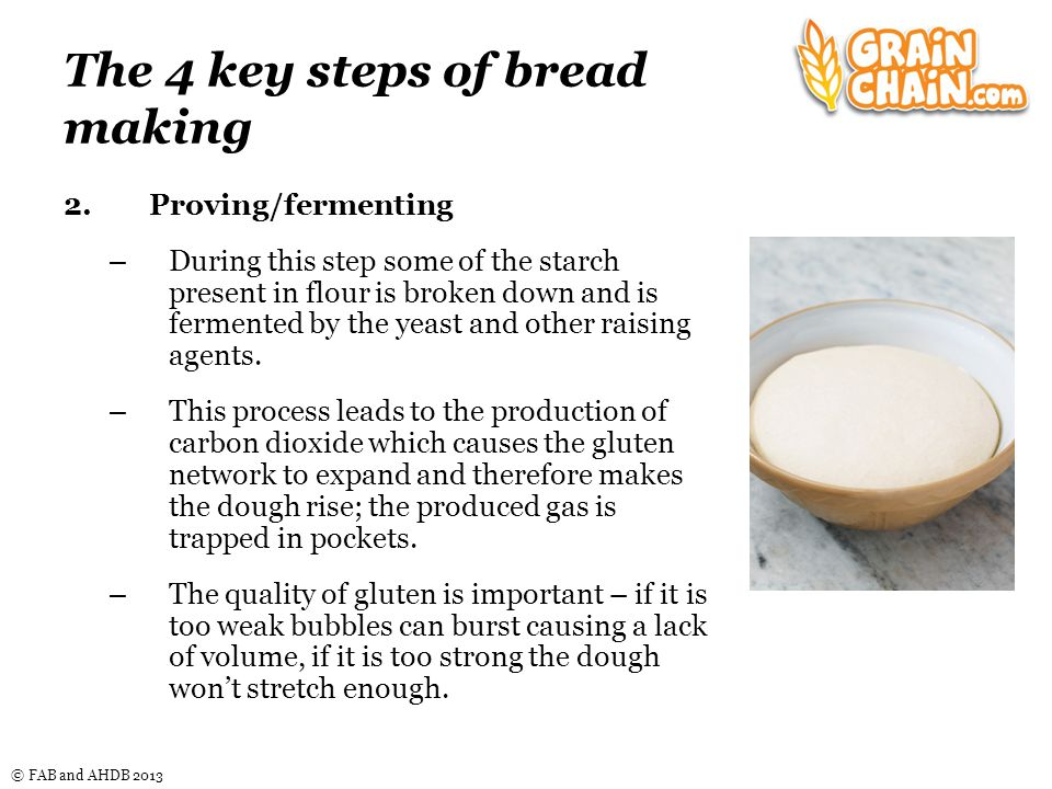 © FAB and AHDB 2013 The 4 key steps of bread making 2.Proving/fermenting – During this step some of the starch present in flour is broken down and is fermented by the yeast and other raising agents.