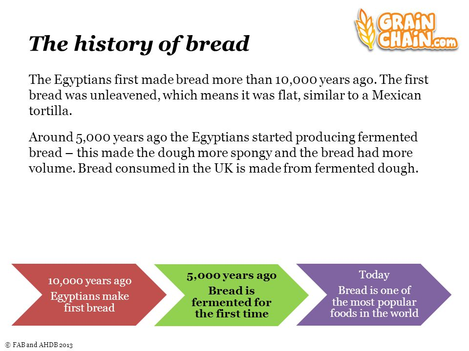 © FAB and AHDB 2013 The history of bread In the UK, bread has also been consumed for thousands of years.