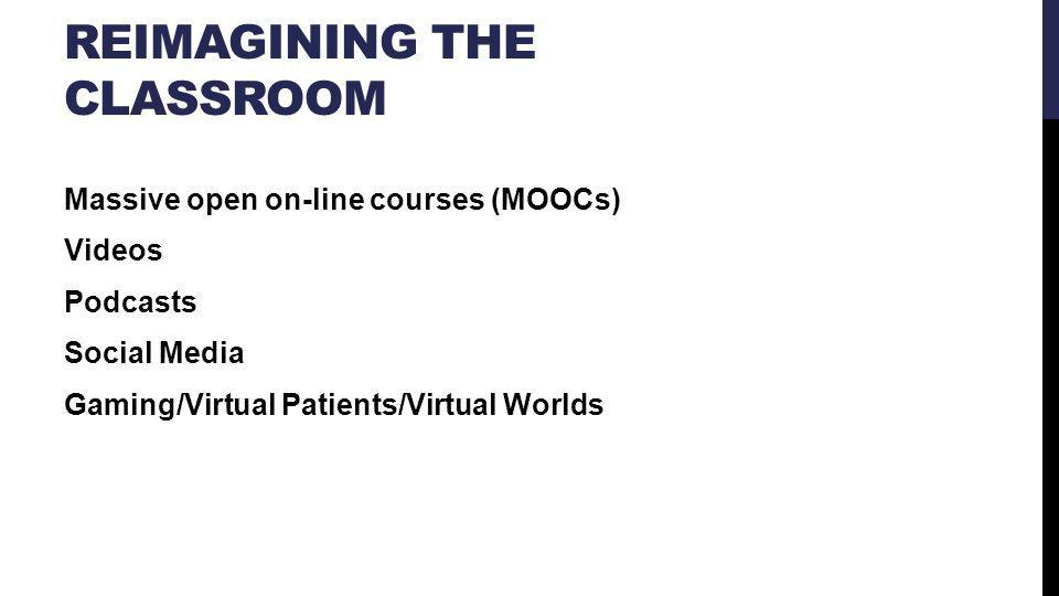 REIMAGINING THE CLASSROOM Massive open on-line courses (MOOCs) Videos Podcasts Social Media Gaming/Virtual Patients/Virtual Worlds