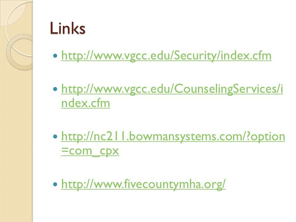 Links http://www.vgcc.edu/Security/index.cfm http://www.vgcc.edu/CounselingServices/i ndex.cfm http://www.vgcc.edu/CounselingServices/i ndex.cfm http: