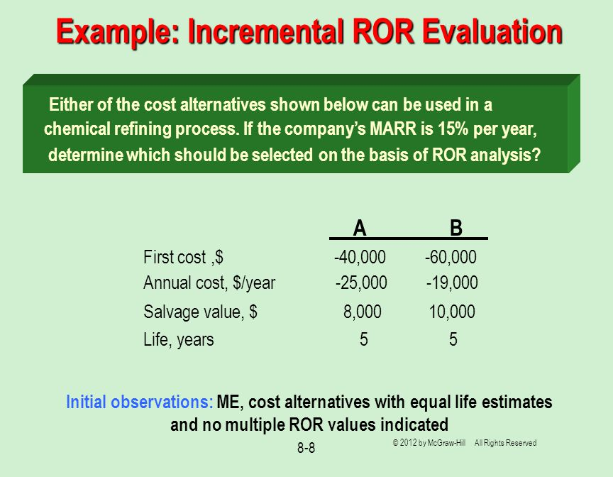 8-8 Example: Incremental ROR Evaluation Either of the cost alternatives shown below can be used in a chemical refining process.