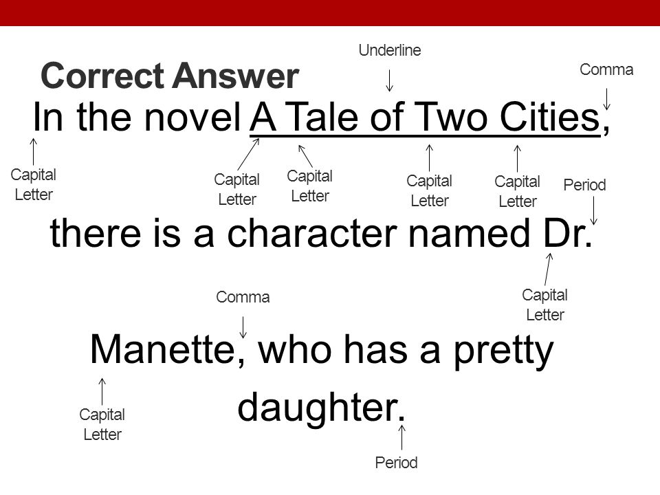 Correct Answer In the novel A Tale of Two Cities, there is a character named Dr. Manette, who has a pretty daughter. Period Capital Letter Comma Capit