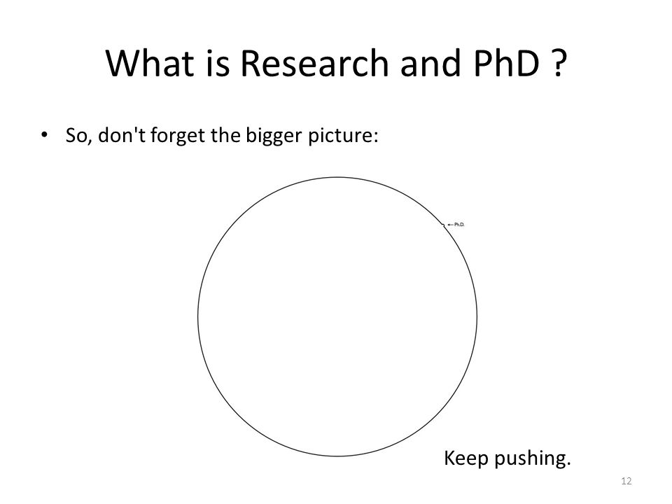What is Research and PhD So, don t forget the bigger picture: Keep pushing. 12