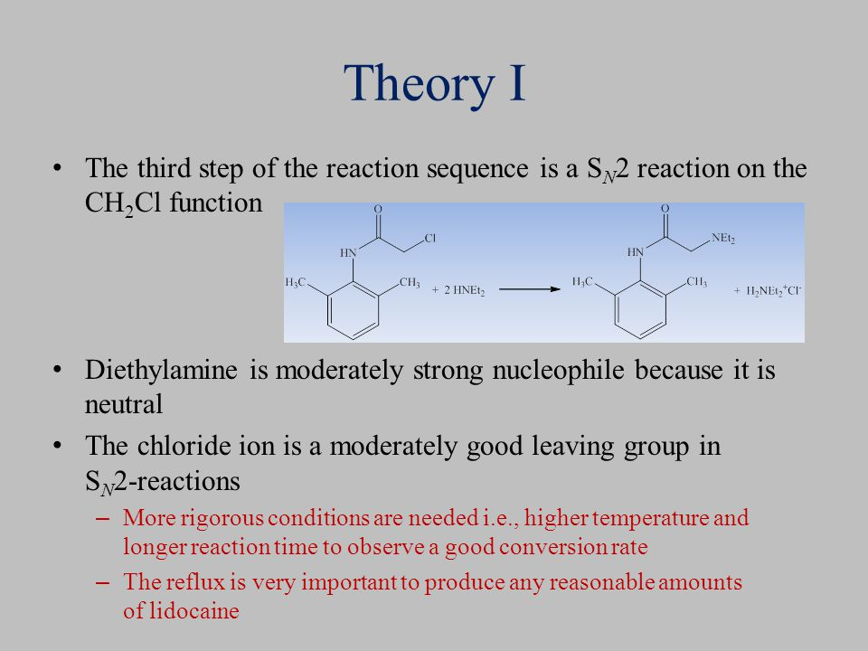 Theory I The third step of the reaction sequence is a S N 2 reaction on the CH 2 Cl function Diethylamine is moderately strong nucleophile because it