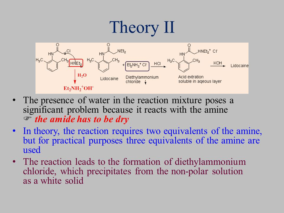 Theory II The presence of water in the reaction mixture poses a significant problem because it reacts with the amine  the amide has to be dry In theo