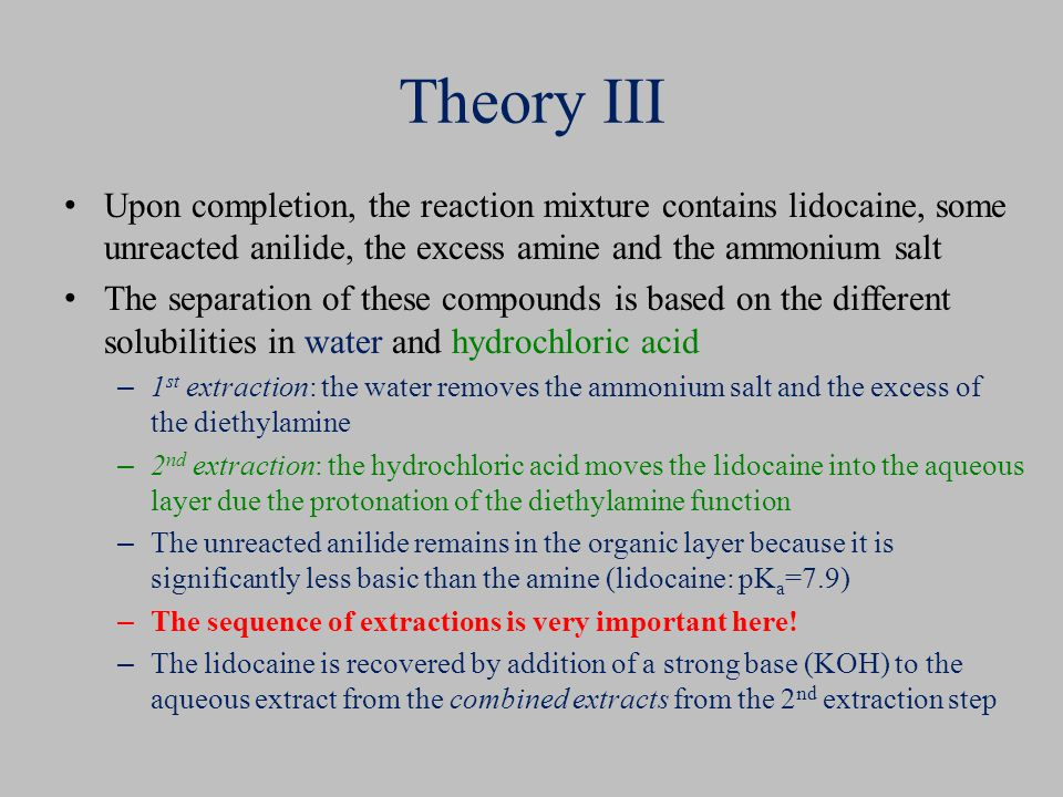 Theory III Upon completion, the reaction mixture contains lidocaine, some unreacted anilide, the excess amine and the ammonium salt The separation of