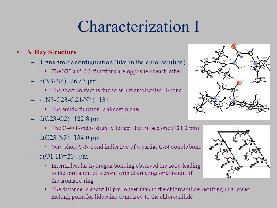 Characterization I X-Ray Structure – Trans amide configuration (like in the chloroanilide) The NH and CO functions are opposite of each other – d(N3-N