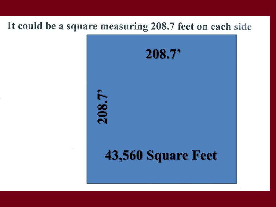 208.7' 208.7' 43,560 Square Feet