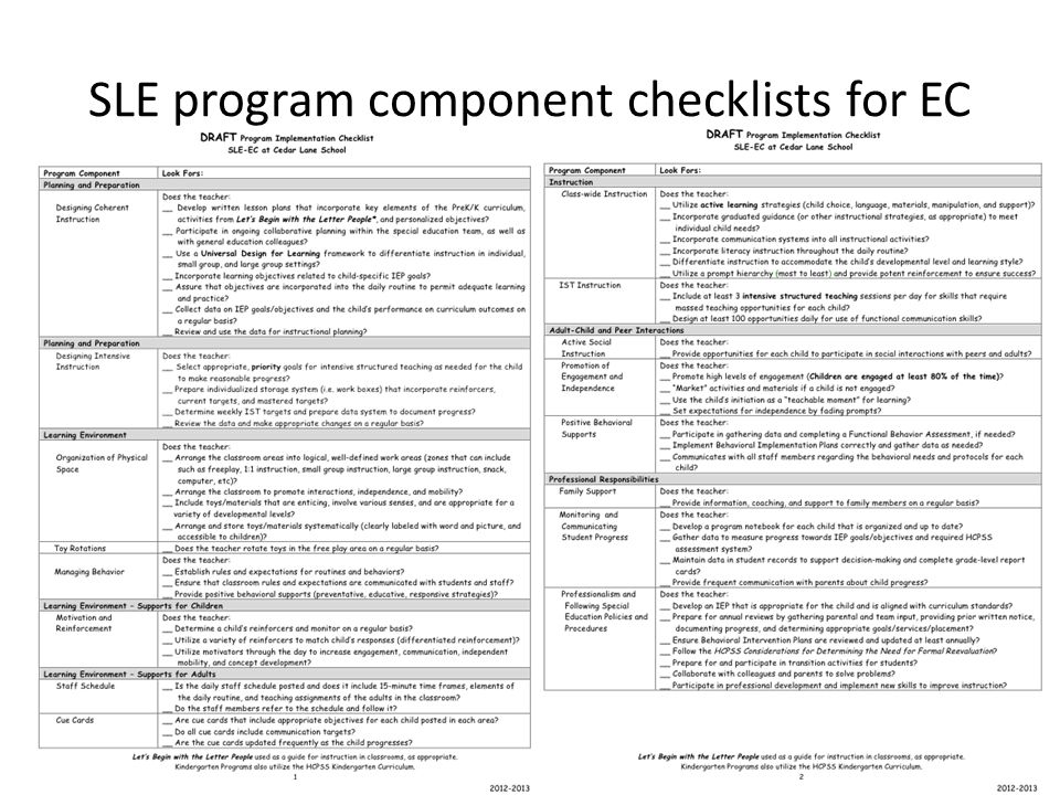 SLE program component checklists for EC
