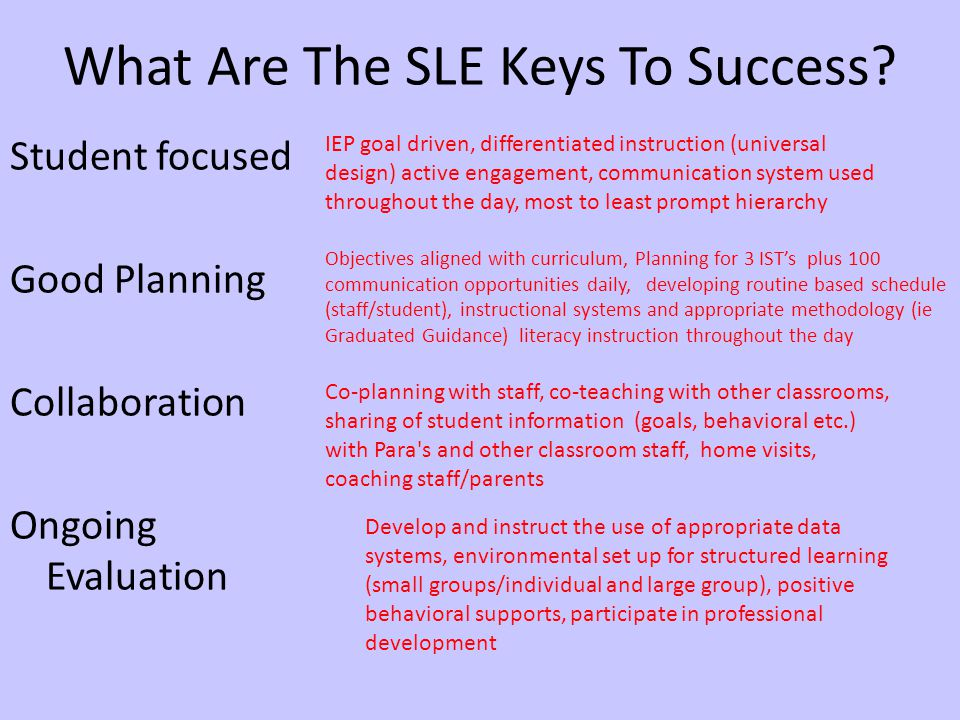 What Are The SLE Keys To Success.