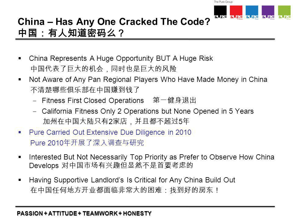 PASSION + ATTITUDE + TEAMWORK + HONESTY China – Has Any One Cracked The Code? 中国:有人知道密码么?  China Represents A Huge Opportunity BUT A Huge Risk 中国代表了巨