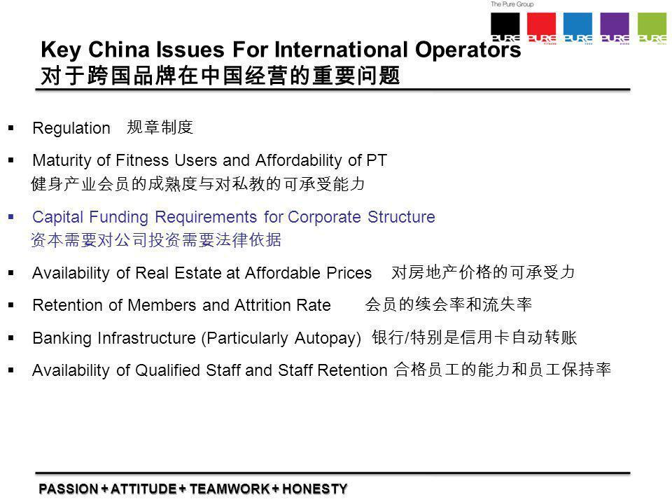 PASSION + ATTITUDE + TEAMWORK + HONESTY Key China Issues For International Operators 对于跨国品牌在中国经营的重要问题  Regulation 规章制度  Maturity of Fitness Users an