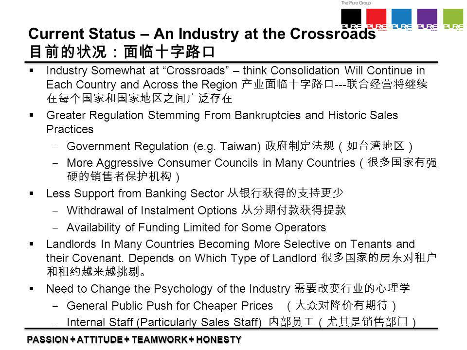 """PASSION + ATTITUDE + TEAMWORK + HONESTY Current Status – An Industry at the Crossroads 目前的状况:面临十字路口  Industry Somewhat at """"Crossroads"""" – think Consol"""