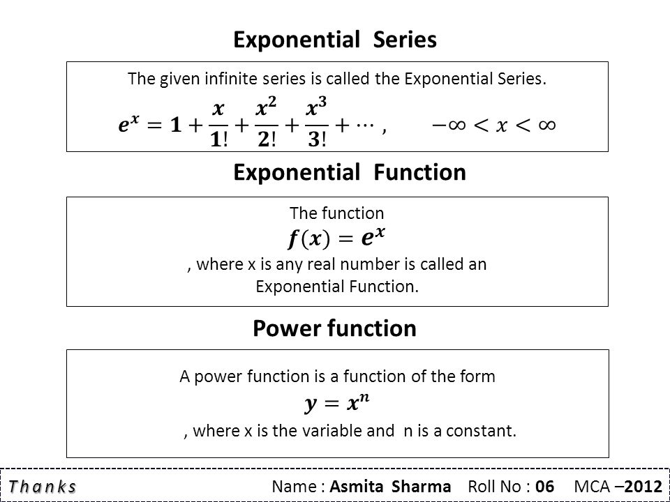 Exponential Series Exponential Function Thanks Thanks Name : Asmita Sharma Roll No : 06 MCA –2012 Power function