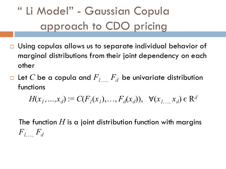 Li Model - Gaussian Copula approach to CDO pricing