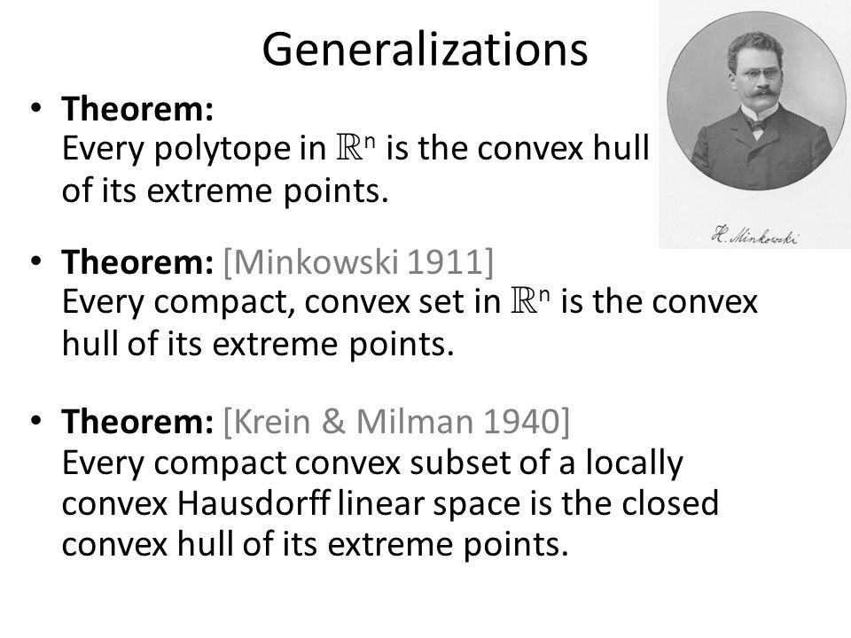 Generalizations Theorem: Every polytope in R n is the convex hull of its extreme points.