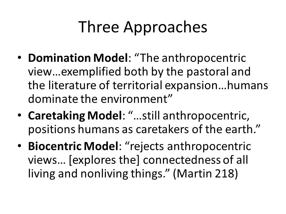 """Three Approaches Domination Model: """"The anthropocentric view…exemplified both by the pastoral and the literature of territorial expansion…humans domin"""
