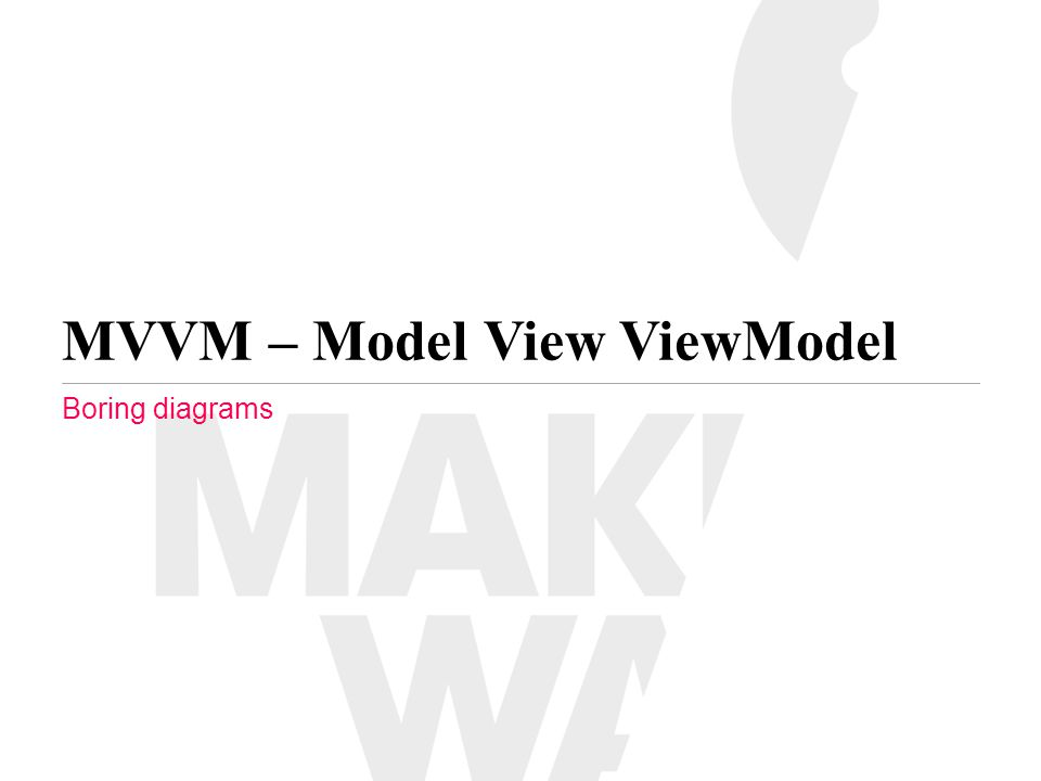 MVVM – Model View ViewModel Boring diagrams