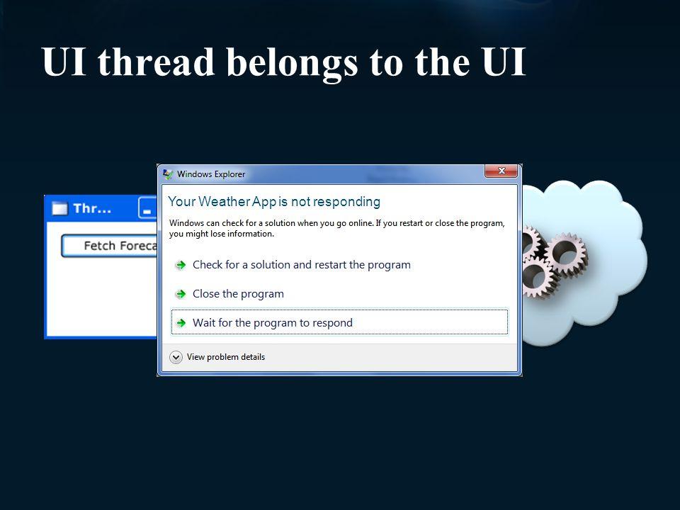 UI thread belongs to the UI Your Weather App is not responding