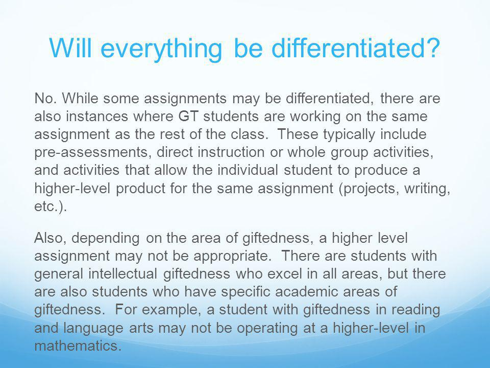 How does the teacher know if a student needs differentiated instruction.