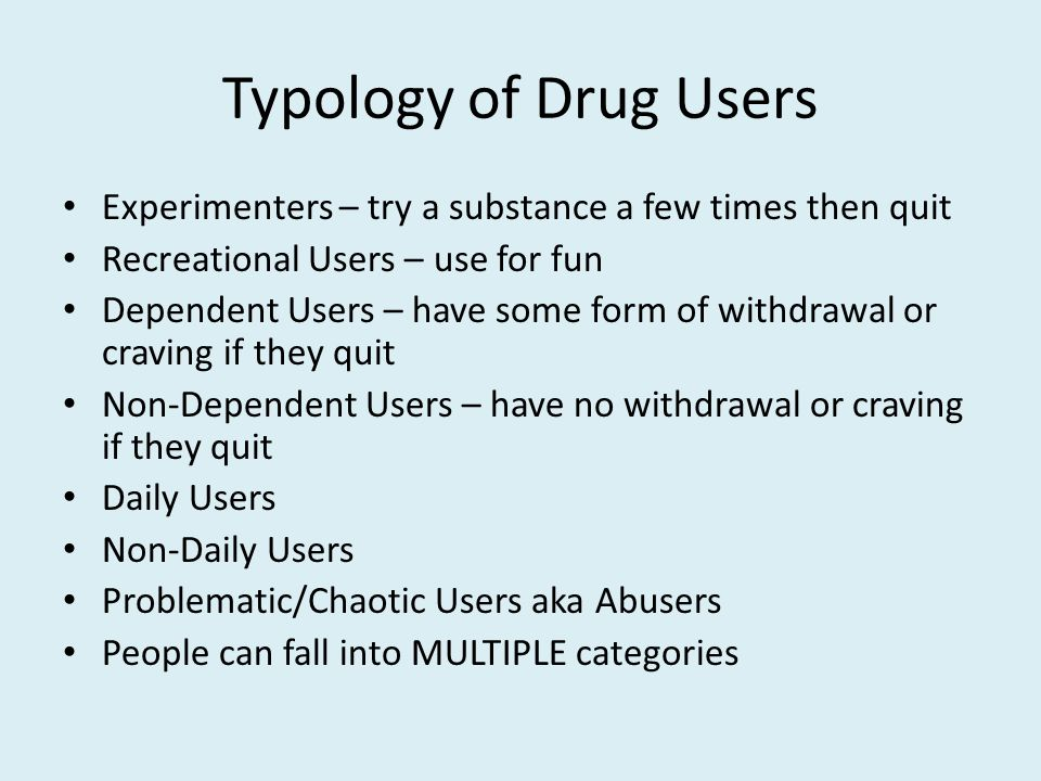 Maintenance, Substitution, and Drug Switching Opioid maintenance: methadone, bupe, heroin assisted treatment Nicotine maintenance Cannabis substitution Stepping down from a harder to softer drug Controlled drinking in former opioid addicts ALL of the above are FULL RECOVERY if impairment is eliminated and PARTIAL RECOVERY if impairment is reduced