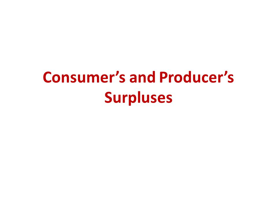 Consumer's and Producer's Surpluses