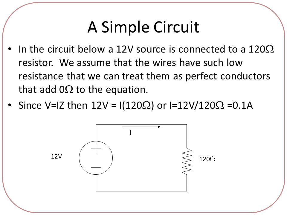 A Simple Circuit In the circuit below a 12V source is connected to a 120  resistor.