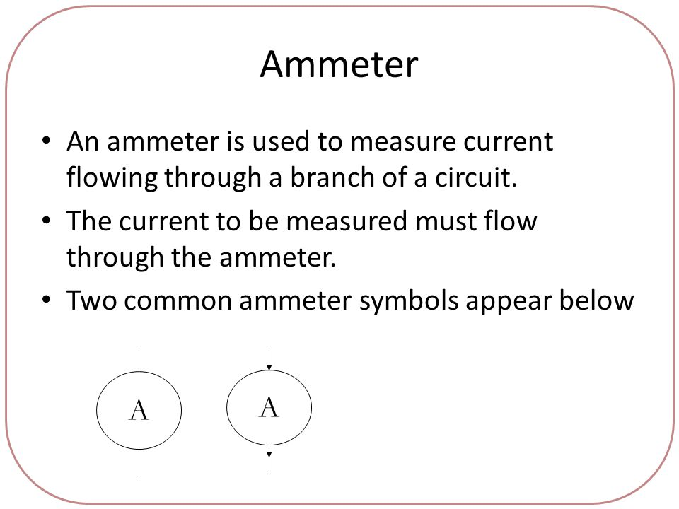 Ammeter An ammeter is used to measure current flowing through a branch of a circuit.