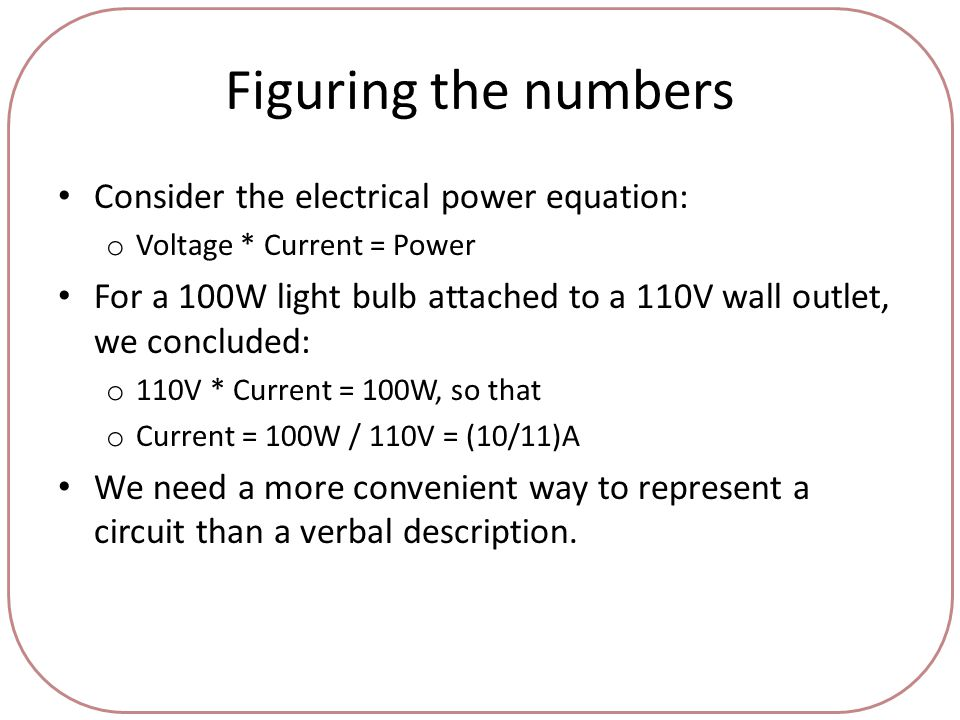 Figuring the numbers Consider the electrical power equation: o Voltage * Current = Power For a 100W light bulb attached to a 110V wall outlet, we concluded: o 110V * Current = 100W, so that o Current = 100W / 110V = (10/11)A We need a more convenient way to represent a circuit than a verbal description.