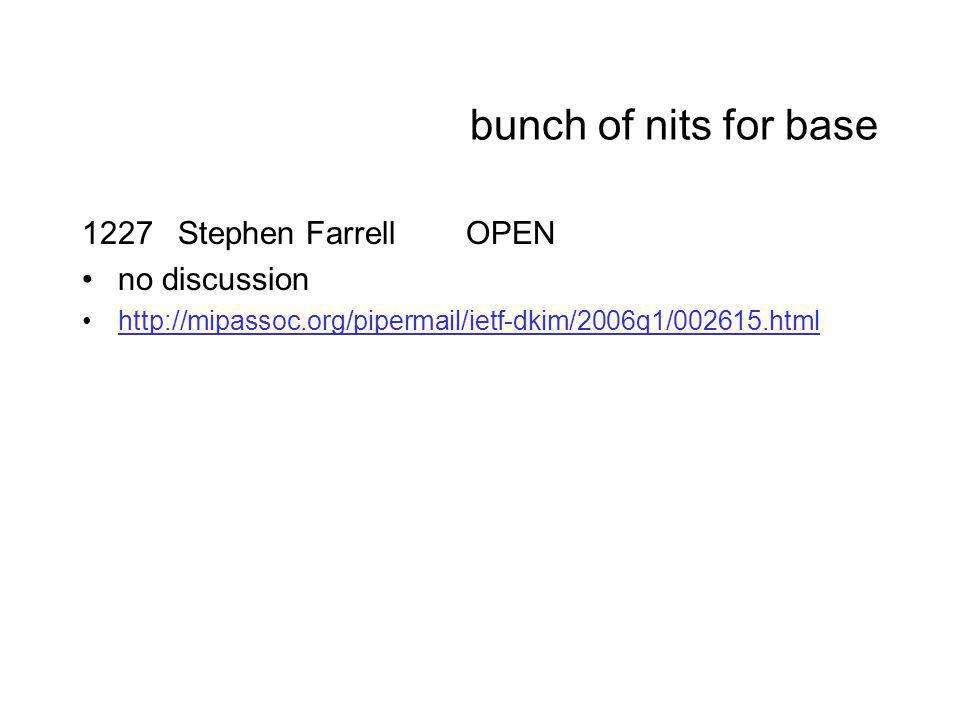 bunch of nits for base 1227Stephen FarrellOPEN no discussion http://mipassoc.org/pipermail/ietf-dkim/2006q1/002615.html