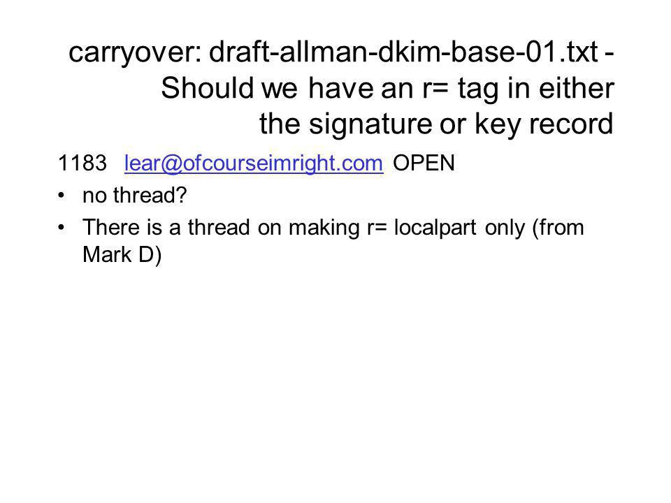 carryover: draft-allman-dkim-base-01.txt - Should we have an r= tag in either the signature or key record 1183lear@ofcourseimright.comOPENlear@ofcourseimright.com no thread.