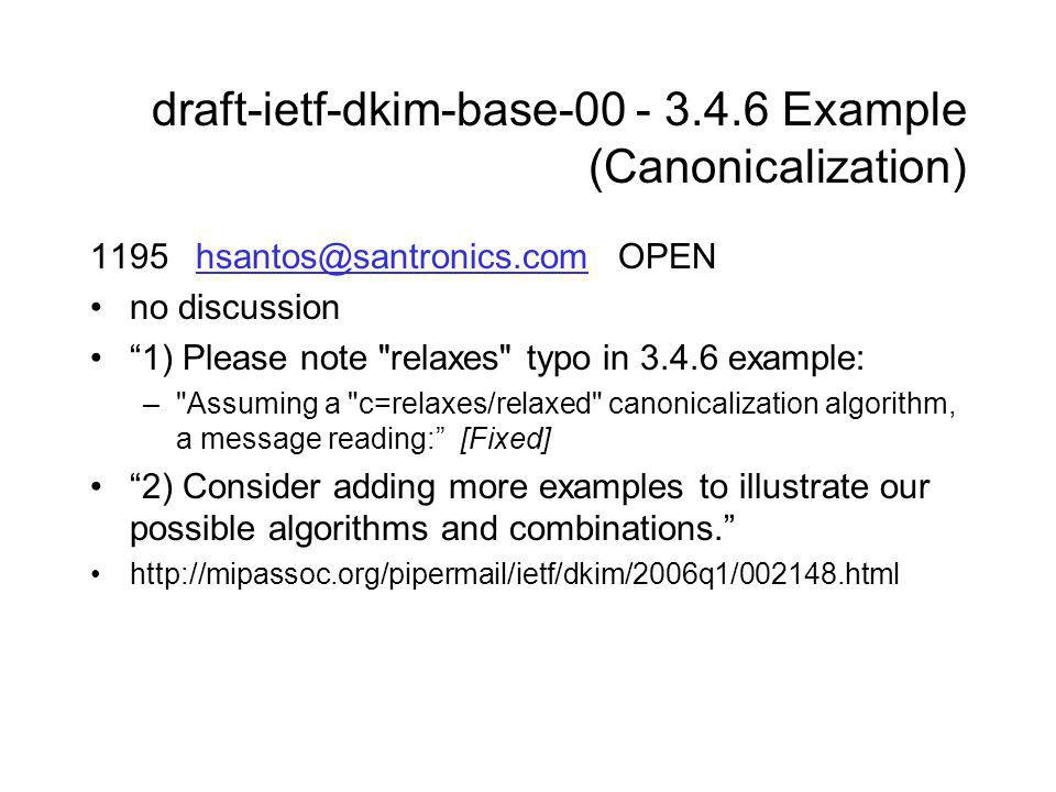 draft-ietf-dkim-base-00 - 3.4.6 Example (Canonicalization) 1195 hsantos@santronics.comOPENhsantos@santronics.com no discussion 1) Please note relaxes typo in 3.4.6 example: – Assuming a c=relaxes/relaxed canonicalization algorithm, a message reading: [Fixed] 2) Consider adding more examples to illustrate our possible algorithms and combinations. http://mipassoc.org/pipermail/ietf/dkim/2006q1/002148.html
