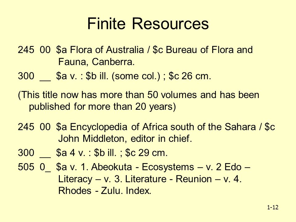 1-12 Finite Resources 245 00 $a Flora of Australia / $c Bureau of Flora and Fauna, Canberra.