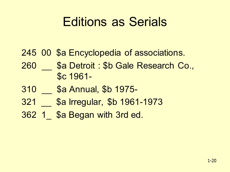 1-20 Editions as Serials 245 00 $a Encyclopedia of associations.