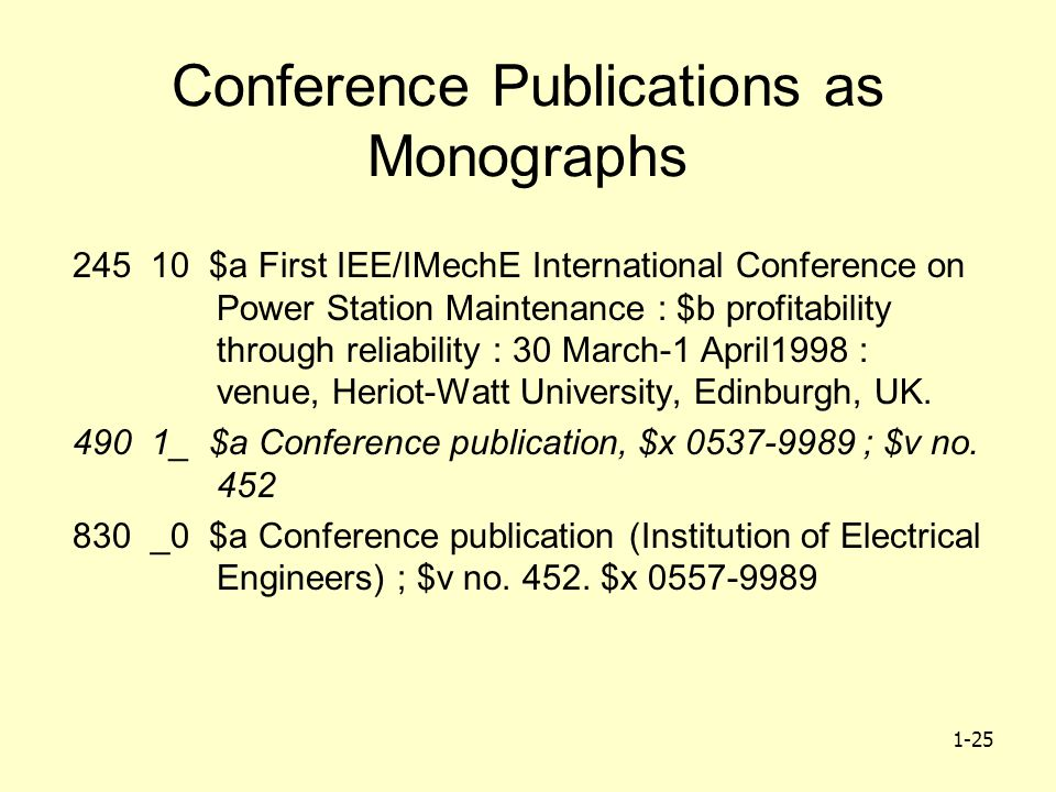 1-25 Conference Publications as Monographs 245 10 $a First IEE/IMechE International Conference on Power Station Maintenance : $b profitability through
