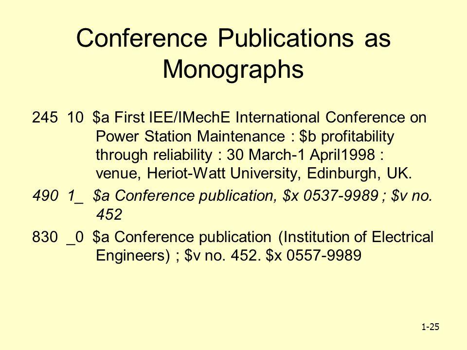 1-25 Conference Publications as Monographs 245 10 $a First IEE/IMechE International Conference on Power Station Maintenance : $b profitability through reliability : 30 March-1 April1998 : venue, Heriot-Watt University, Edinburgh, UK.