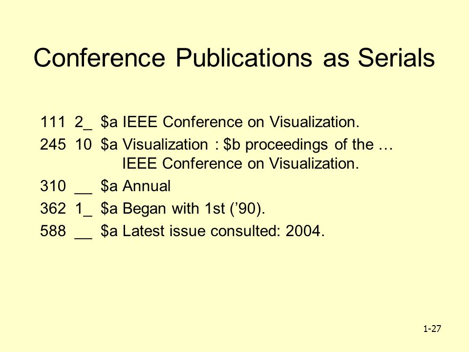 1-27 Conference Publications as Serials 111 2_ $a IEEE Conference on Visualization.