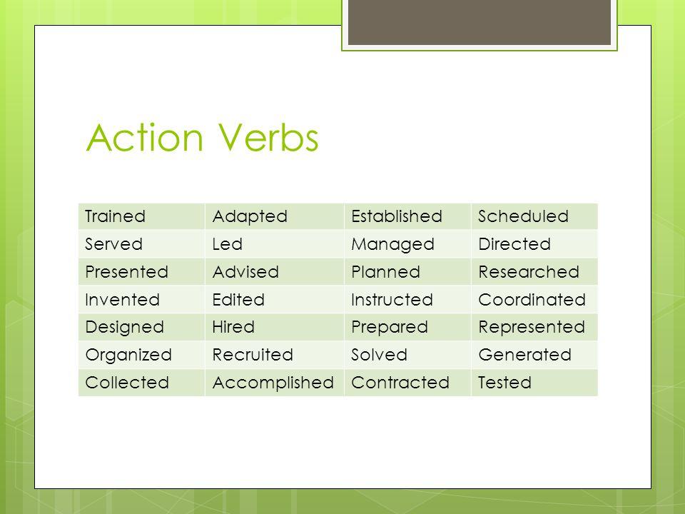Action Verbs Trained AdaptedEstablishedScheduled ServedLedManagedDirected PresentedAdvisedPlannedResearched InventedEditedInstructedCoordinated Design