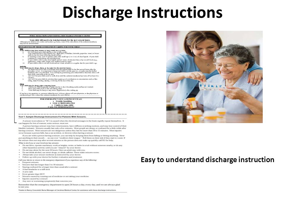 Discharge Instructions Easy to understand discharge instruction