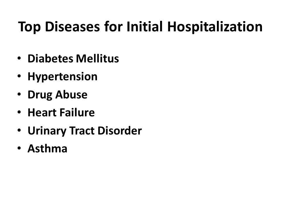 Top Diseases for Initial Hospitalization Diabetes Mellitus Hypertension Drug Abuse Heart Failure Urinary Tract Disorder Asthma