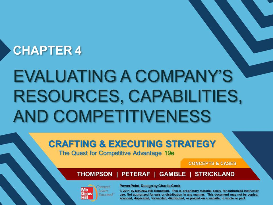 CHAPTER 4 EVALUATING A COMPANY'S RESOURCES, CAPABILITIES, AND COMPETITIVENESS