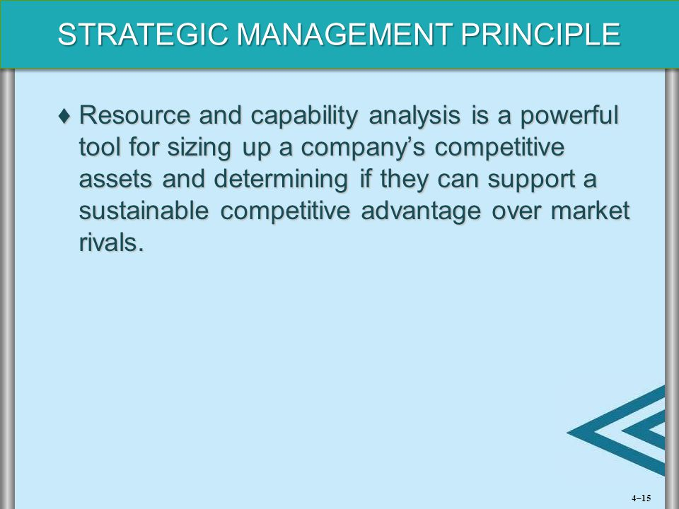 STRATEGIC MANAGEMENT PRINCIPLE ♦Resource and capability analysis is a powerful tool for sizing up a company's competitive assets and determining if th