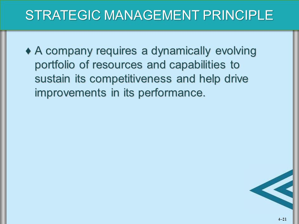 STRATEGIC MANAGEMENT PRINCIPLE ♦A company requires a dynamically evolving portfolio of resources and capabilities to sustain its competitiveness and h