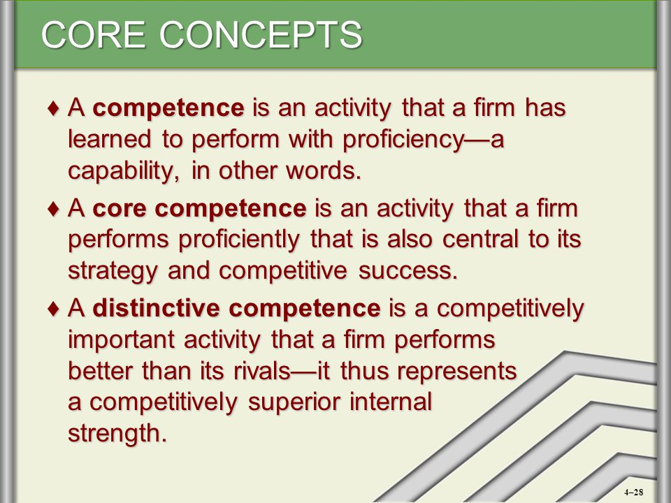 CORE CONCEPTS ♦A competence is an activity that a firm has learned to perform with proficiency—a capability, in other words. ♦A core competence is an