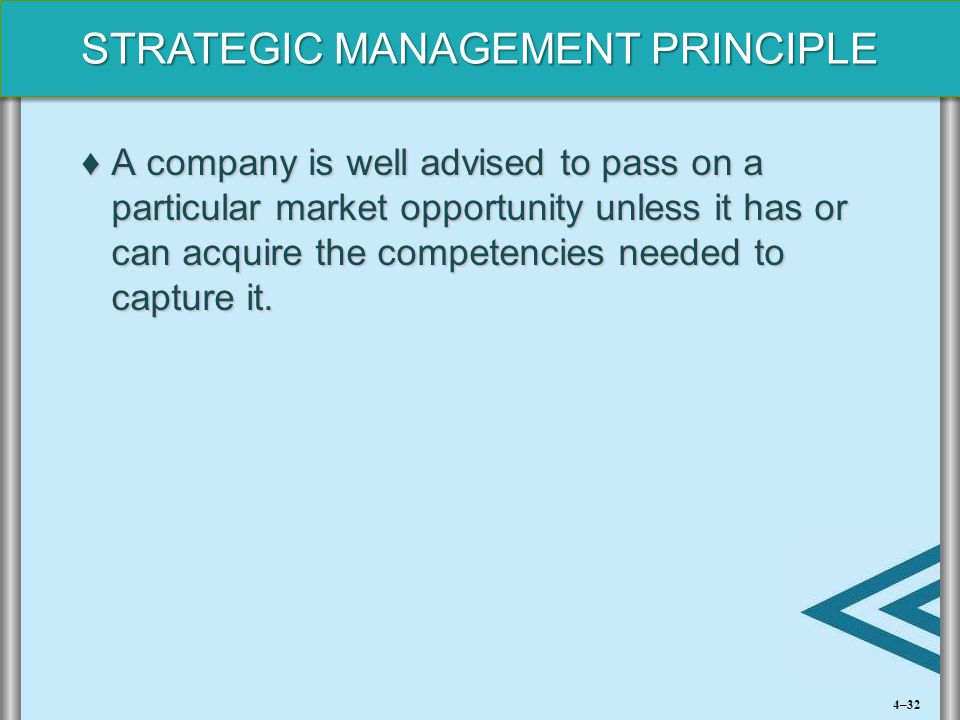 STRATEGIC MANAGEMENT PRINCIPLE ♦A company is well advised to pass on a particular market opportunity unless it has or can acquire the competencies nee