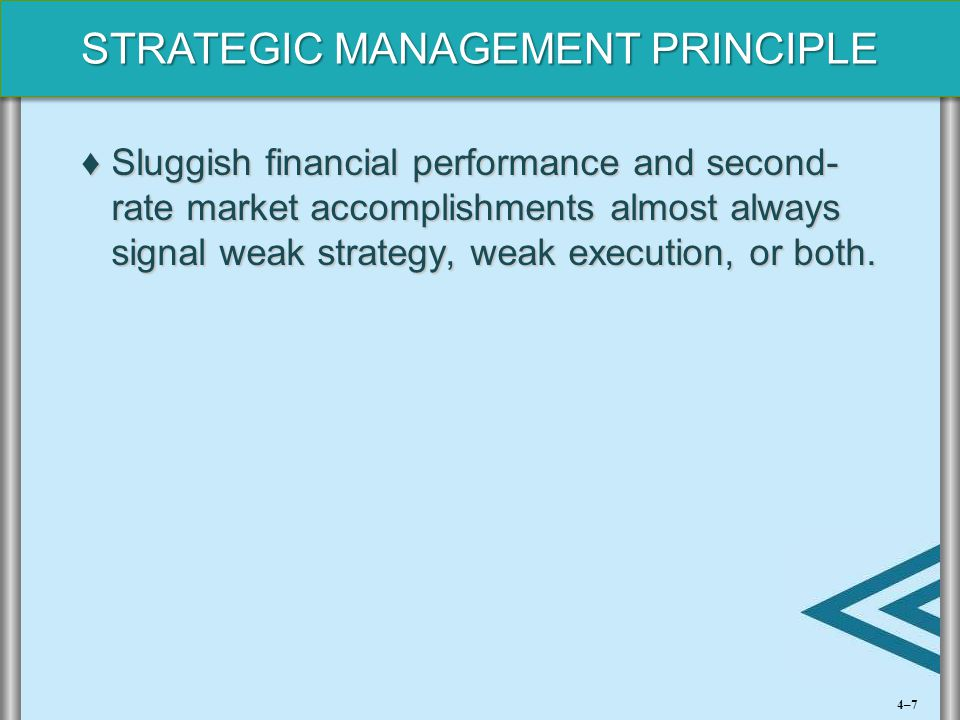 STRATEGIC MANAGEMENT PRINCIPLE ♦Sluggish financial performance and second- rate market accomplishments almost always signal weak strategy, weak execut