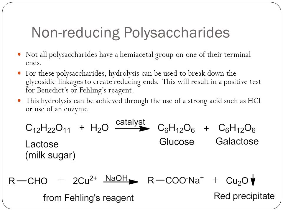 Non-reducing Polysaccharides Not all polysaccharides have a hemiacetal group on one of their terminal ends.
