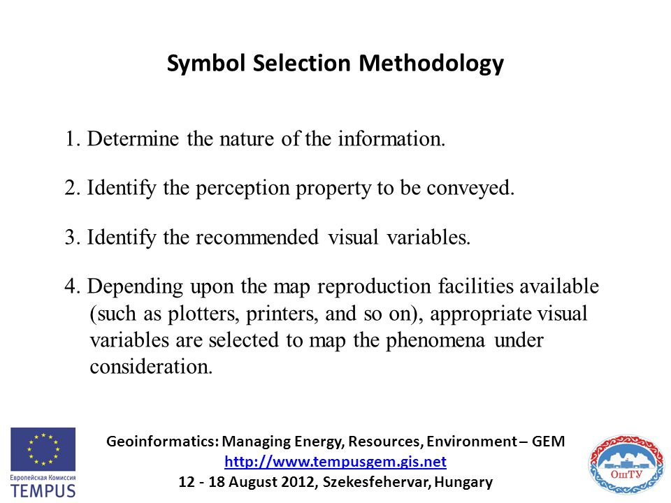Symbol Selection Methodology 1. Determine the nature of the information. 2. Identify the perception property to be conveyed. 3. Identify the recommend