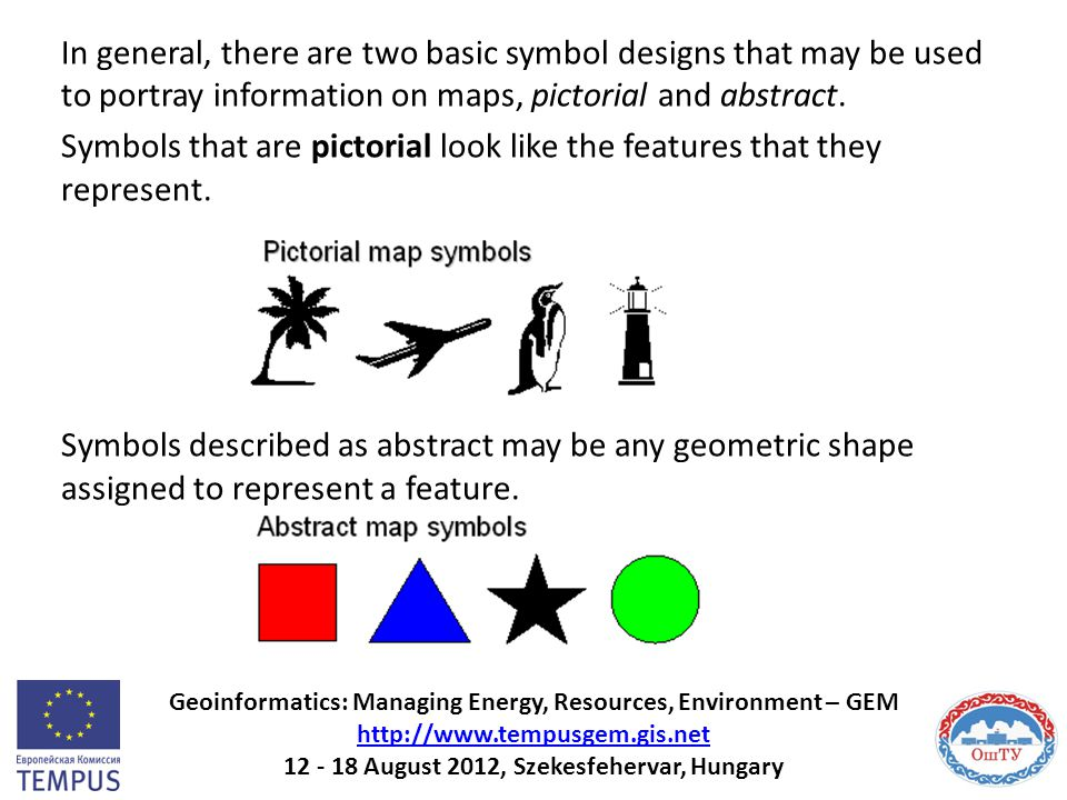 In general, there are two basic symbol designs that may be used to portray information on maps, pictorial and abstract. Symbols that are pictorial loo